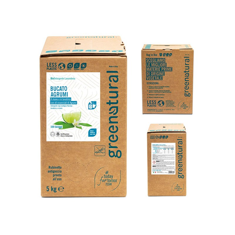 Detersivo ecologico bucato agrumi bag in box Greenatural - Famideal